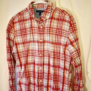 Banana Republic Men's cotton linen plaid button up